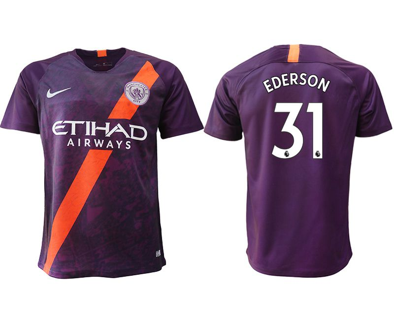 Men 2018-2019 club Manchester City Second away aaa version 31 purple soccer jersey