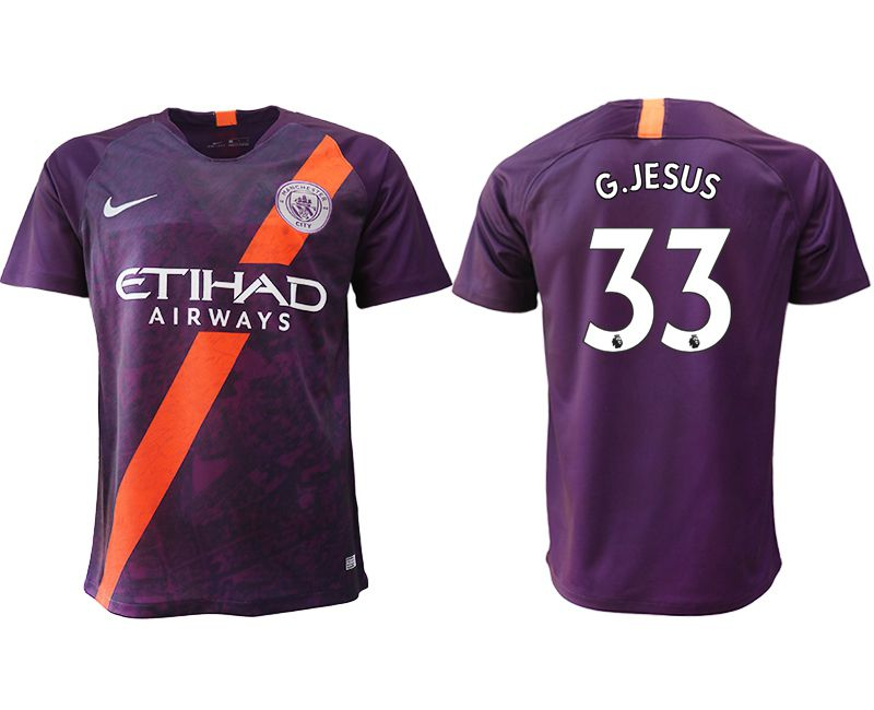 Men 2018-2019 club Manchester City Second away aaa version 33 purple soccer jersey