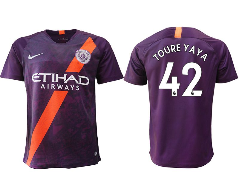 Men 2018-2019 club Manchester City Second away aaa version 42 purple soccer jersey