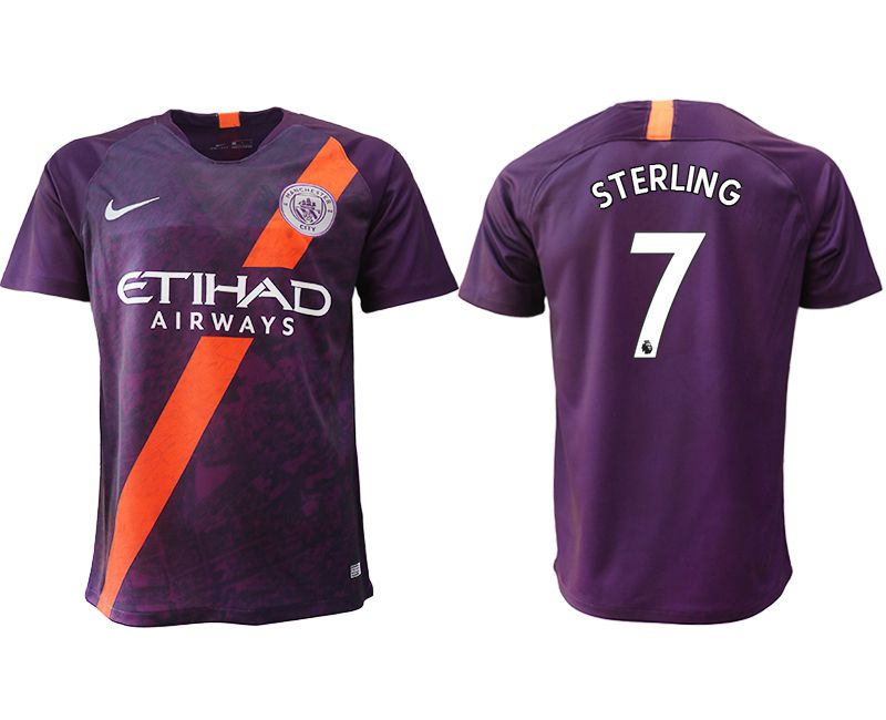 Men 2018-2019 club Manchester City Second away aaa version 7 purple soccer jersey