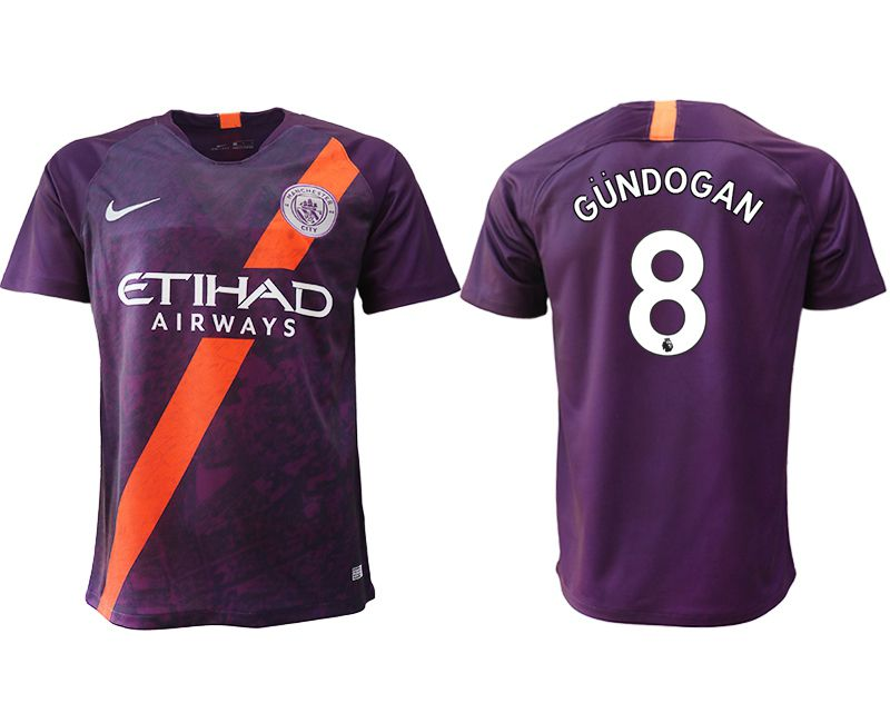 Men 2018-2019 club Manchester City Second away aaa version 8 purple soccer jersey