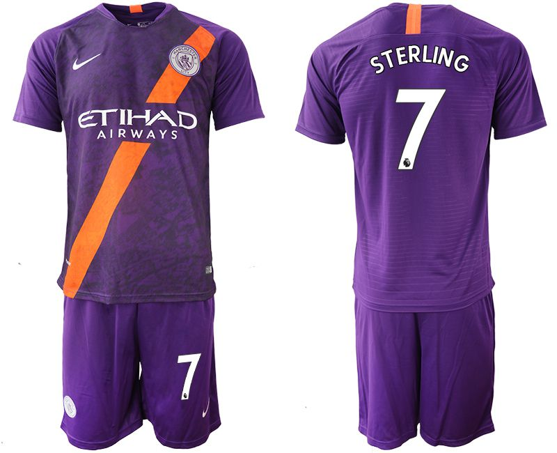 Men 2018-2019 club Manchester City away 7 purple soccer jersey