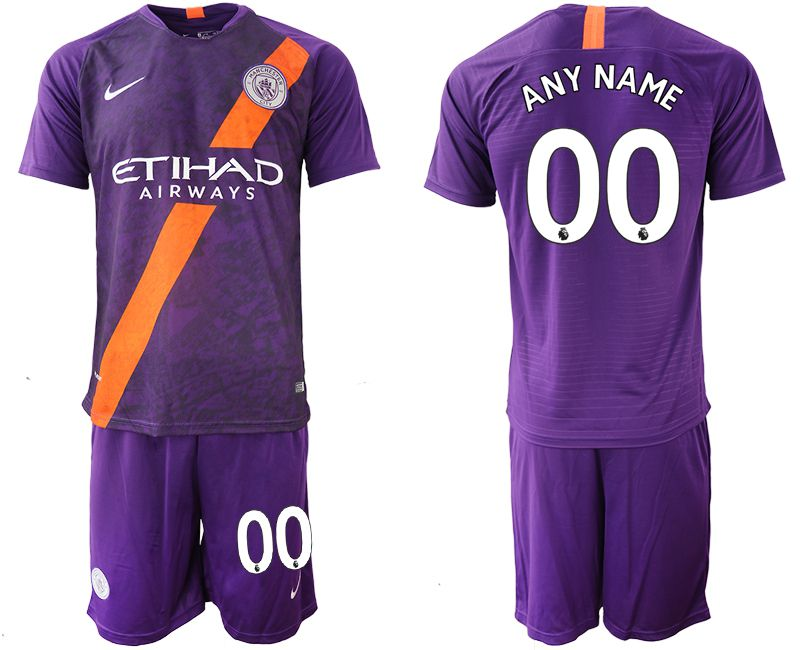 Men 2018-2019 club Manchester City away customized purple soccer jersey