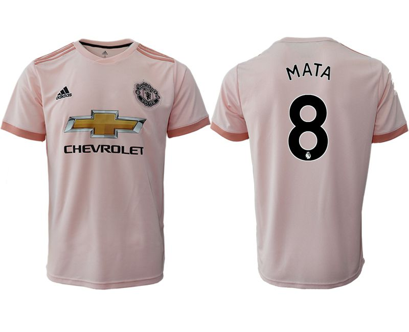 Men 2018-2019 club Manchester United away aaa version 8 pink soccer jersey