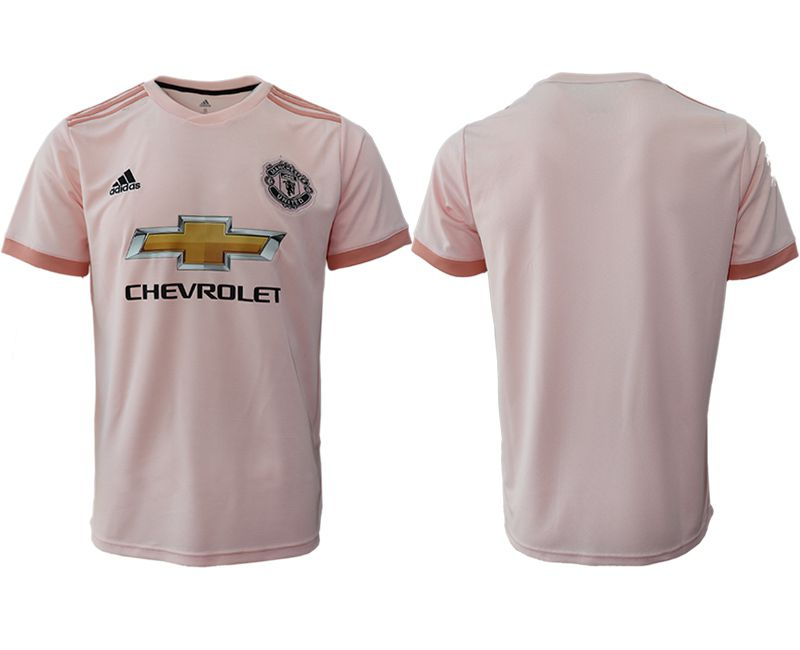 Men 2018-2019 club Manchester United away aaa version blank pink soccer jersey