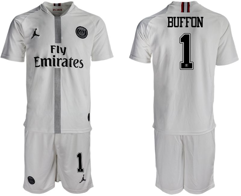 Men 2018-2019 club Paris Saint Germain Jordan away 1 white soccer jerseys