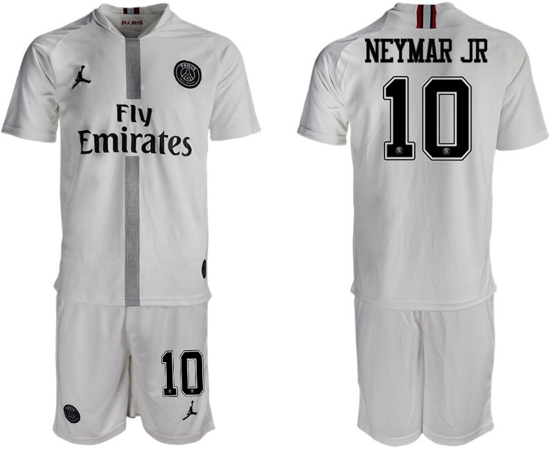 Men 2018-2019 club Paris Saint Germain Jordan away 10 white soccer jerseys