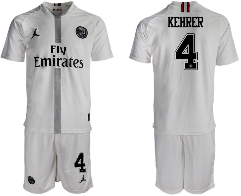 Men 2018-2019 club Paris Saint Germain Jordan away 4 white soccer jerseys