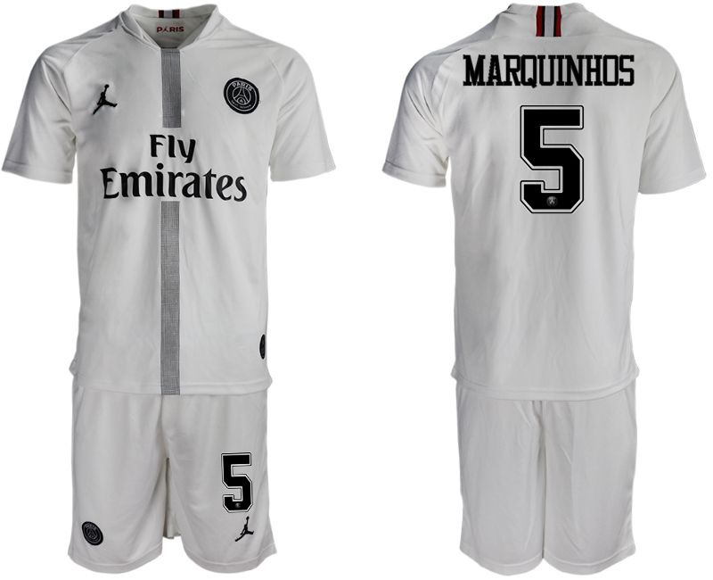 Men 2018-2019 club Paris Saint Germain Jordan away 5 white soccer jerseys