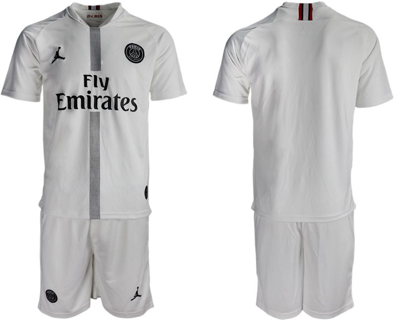 Men 2018-2019 club Paris Saint Germain Jordan away blank white soccer jerseys