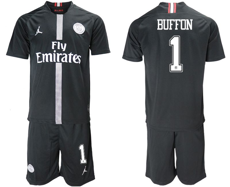 Men 2018-2019 club Paris Saint Germain Jordan home 1 black soccer jerseys