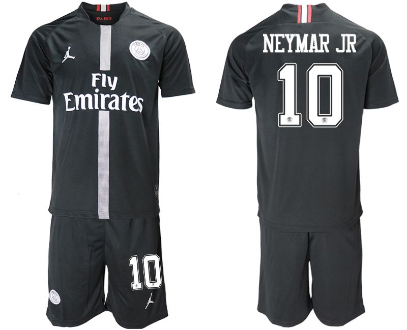 Men 2018-2019 club Paris Saint Germain Jordan home 10 black soccer jerseys