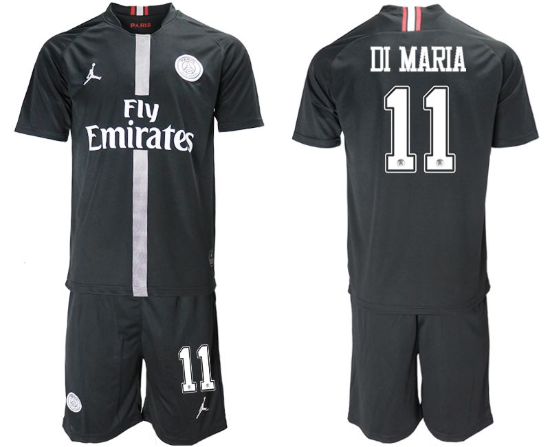 Men 2018-2019 club Paris Saint Germain Jordan home 11 black soccer jerseys