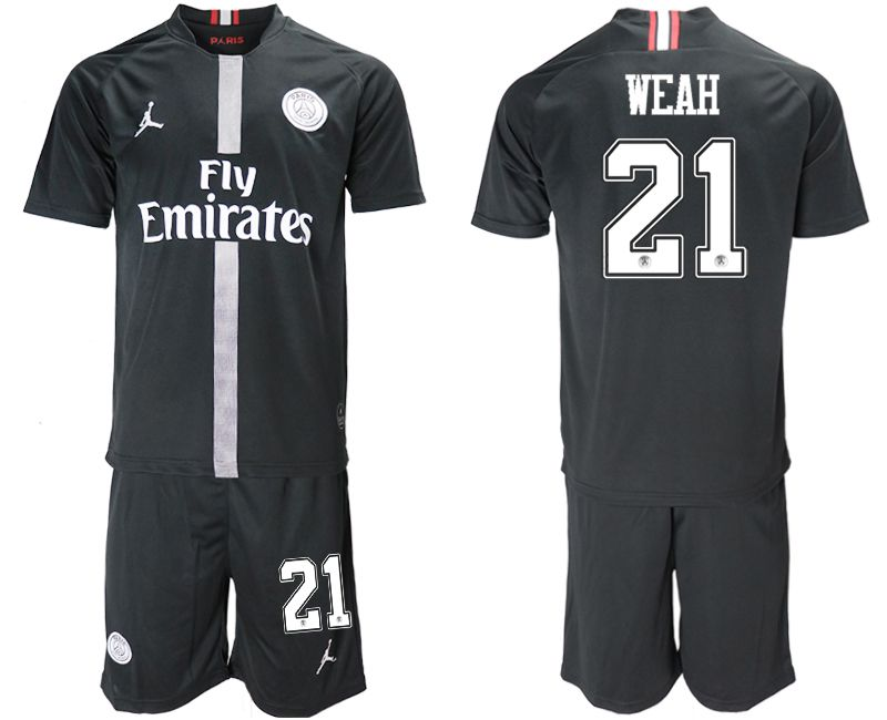 Men 2018-2019 club Paris Saint Germain Jordan home 21 black soccer jerseys