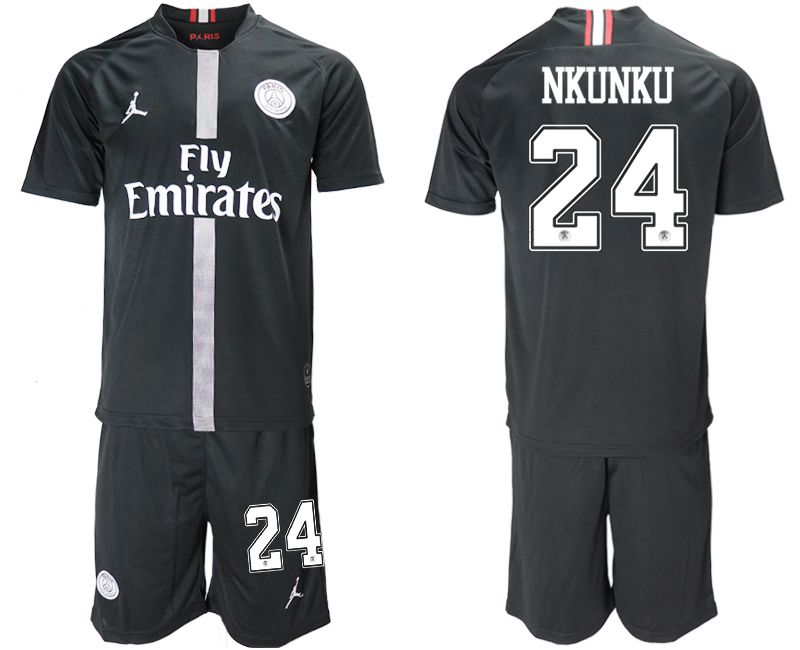 Men 2018-2019 club Paris Saint Germain Jordan home 24 black soccer jerseys