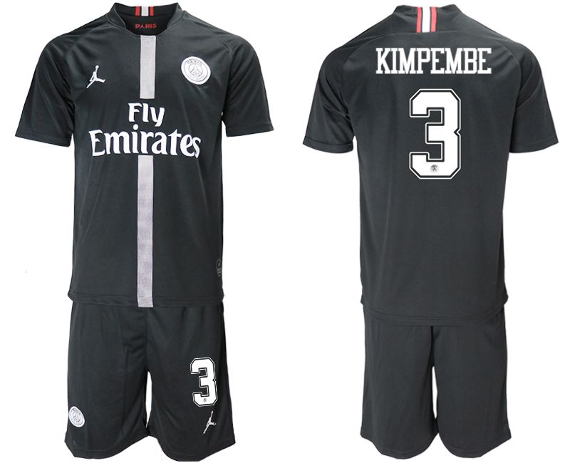 Men 2018-2019 club Paris Saint Germain Jordan home 3 black soccer jerseys