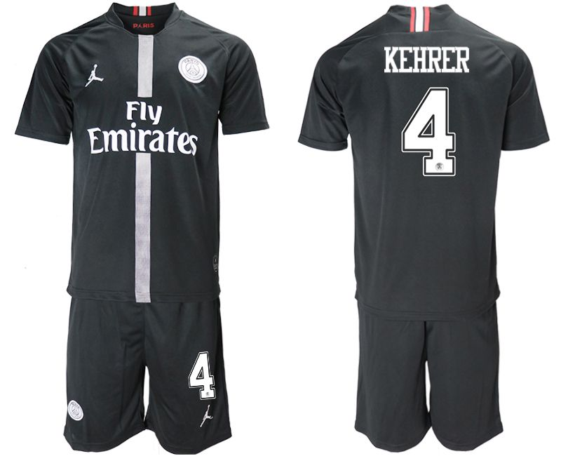 Men 2018-2019 club Paris Saint Germain Jordan home 4 black soccer jerseys