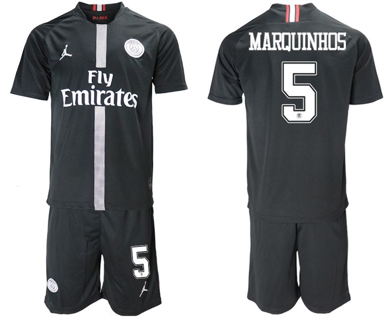 Men 2018-2019 club Paris Saint Germain Jordan home 5 black soccer jerseys