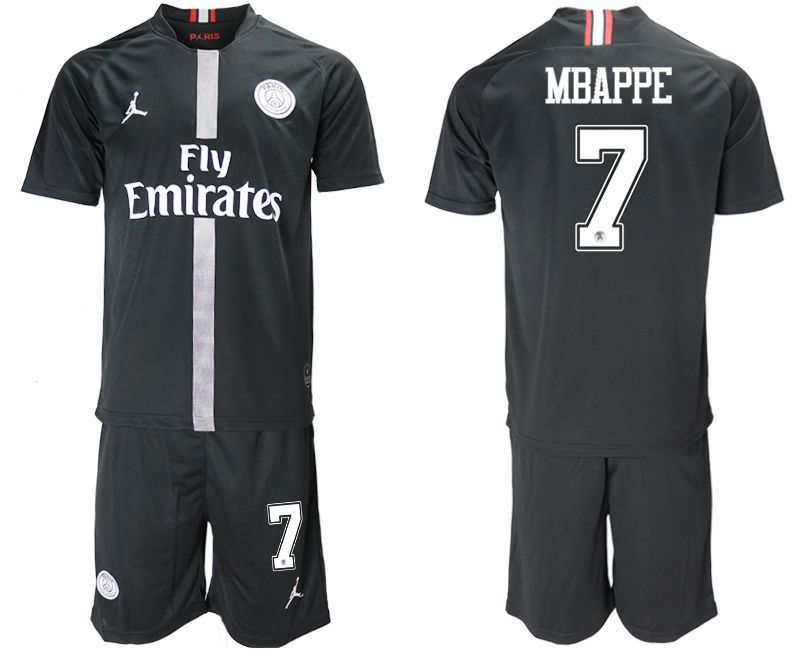 Men 2018-2019 club Paris Saint Germain Jordan home 7 black soccer jerseys