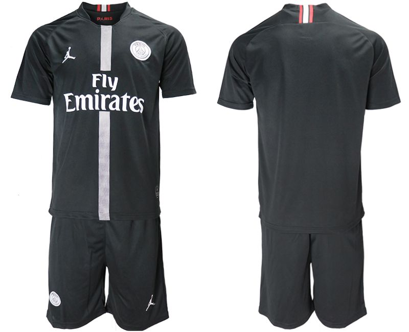 Men 2018-2019 club Paris Saint Germain Jordan home black soccer jerseys
