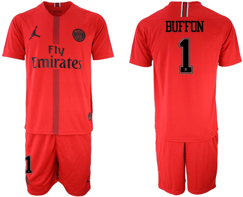 Men 2018-2019 club Paris Saint Germain Jordan red goalkeeper 1 soccer jerseys