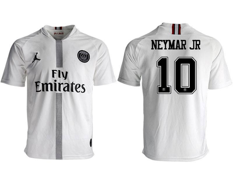 Men 2018-2019 club Paris St German aaa version away 10 white soccer jersey