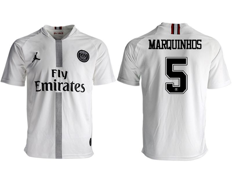 Men 2018-2019 club Paris St German aaa version away 5 white soccer jersey