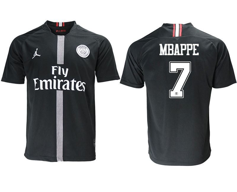 Men 2018-2019 club Paris St German aaa version home 7 black soccer jersey