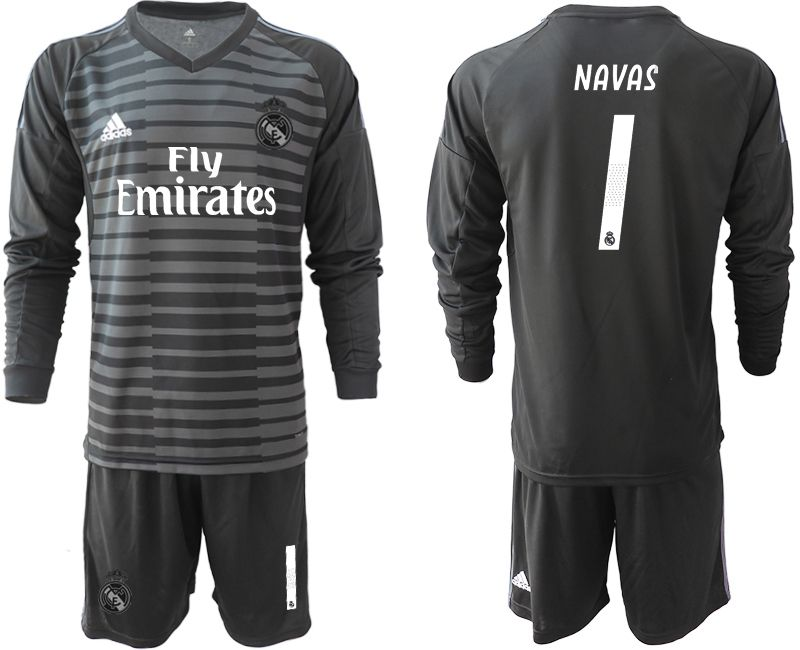 Men 2018-2019 club Real Madrid Goalkeeper Long sleeve 1 black Soccer Jerseys