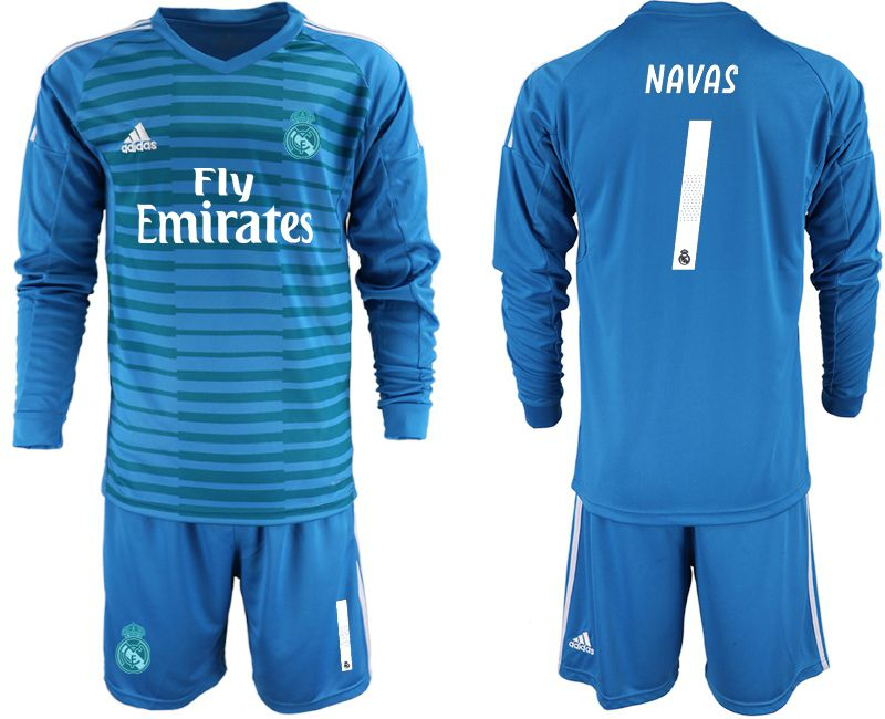 Men 2018-2019 club Real Madrid Goalkeeper Long sleeve 1 blue Soccer Jerseys