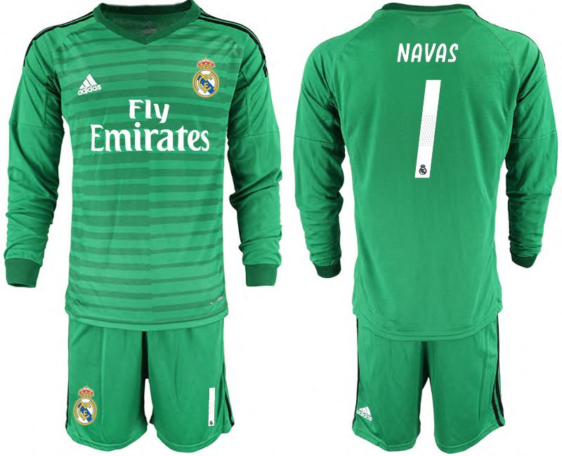 Men 2018-2019 club Real Madrid Goalkeeper Long sleeve 1 green Soccer Jerseys