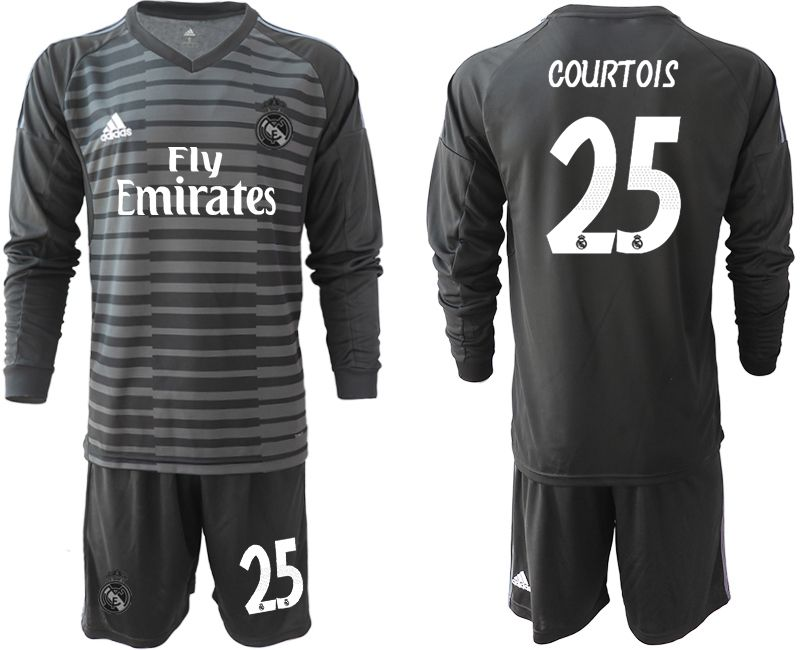 Men 2018-2019 club Real Madrid Goalkeeper Long sleeve 25 black Soccer Jerseys