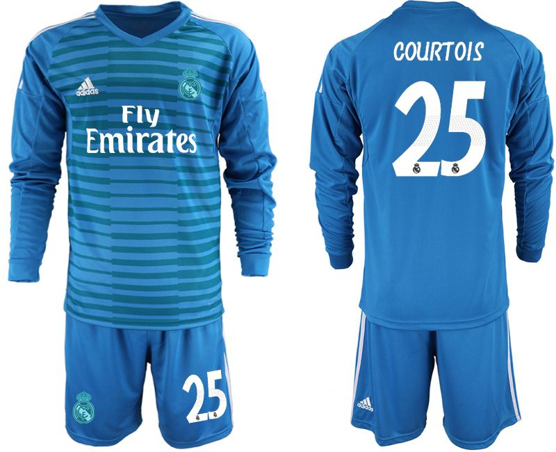 Men 2018-2019 club Real Madrid Goalkeeper Long sleeve 25 blue Soccer Jerseys