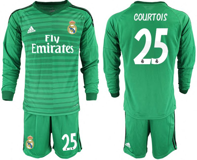 Men 2018-2019 club Real Madrid Goalkeeper Long sleeve 25 green Soccer Jerseys