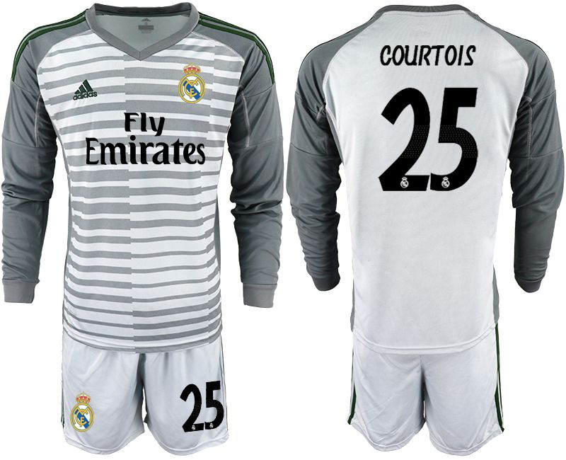 Men 2018-2019 club Real Madrid Goalkeeper Long sleeve 25 grey Soccer Jerseys