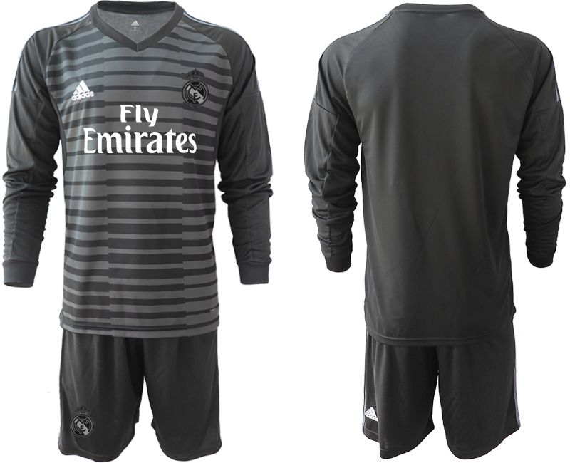 Men 2018-2019 club Real Madrid Goalkeeper Long sleeve blank black Soccer Jerseys