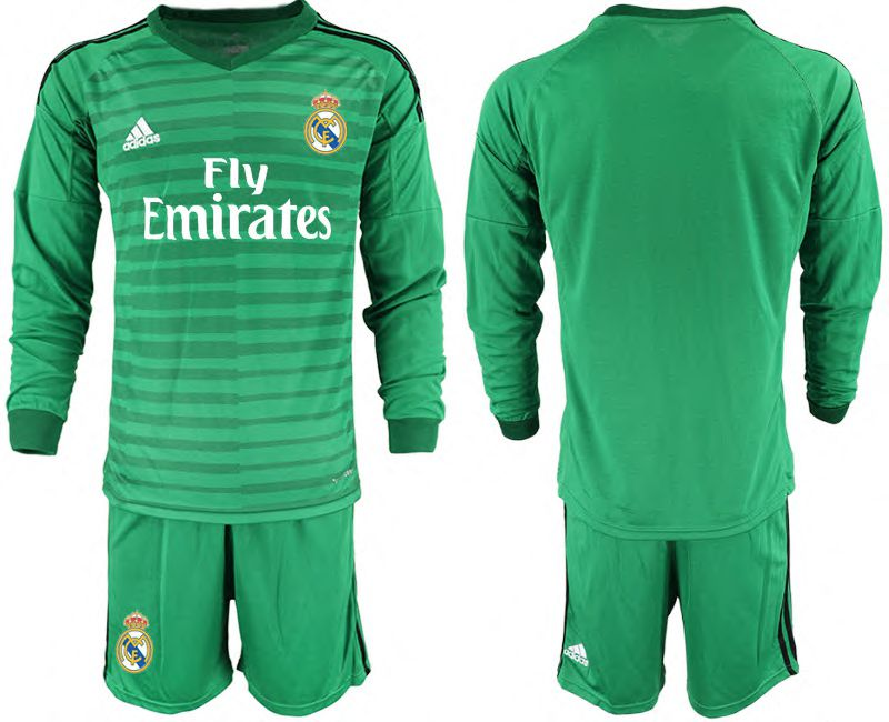 Men 2018-2019 club Real Madrid Goalkeeper Long sleeve blank green Soccer Jerseys