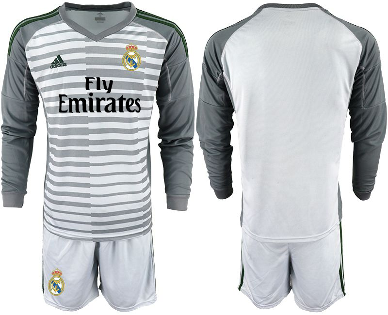 Men 2018-2019 club Real Madrid Goalkeeper Long sleeve blank grey Soccer Jerseys