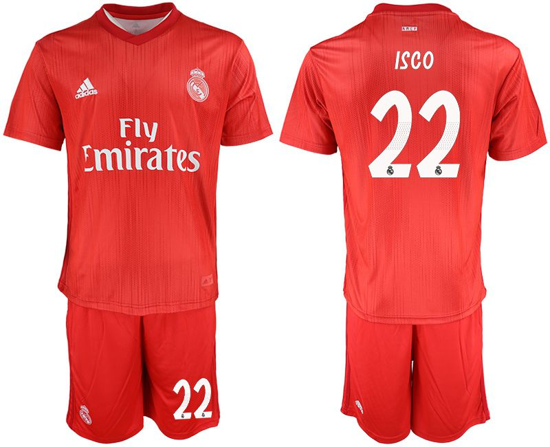 Men 2018-2019 club Real Madrid Second away 22 red soccer jersey