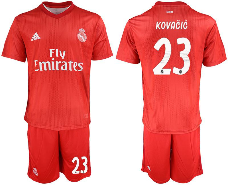 Men 2018-2019 club Real Madrid Second away 23 red soccer jersey
