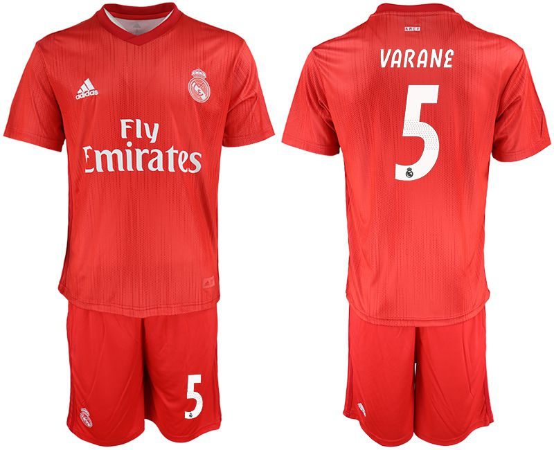 Men 2018-2019 club Real Madrid Second away 5 red soccer jersey
