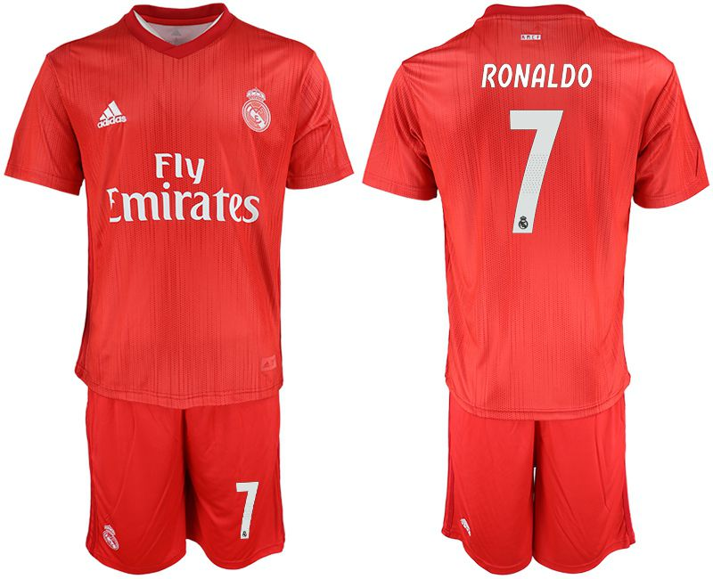 Men 2018-2019 club Real Madrid Second away 7 red soccer jersey