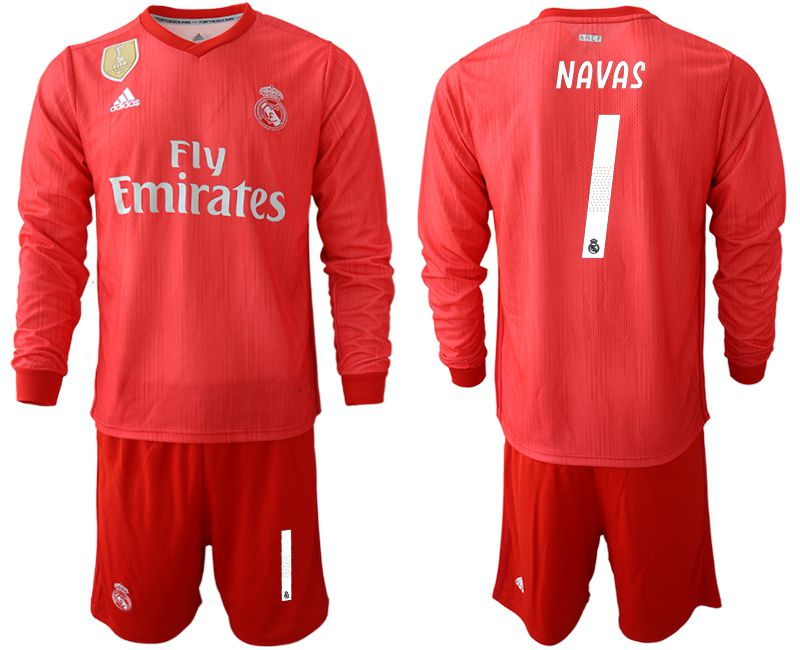 Men 2018-2019 club Real Madrid Second away Long sleeve 1 red Soccer Jerseys
