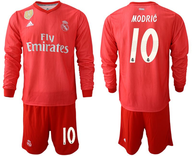 Men 2018-2019 club Real Madrid Second away Long sleeve 10 red Soccer Jerseys