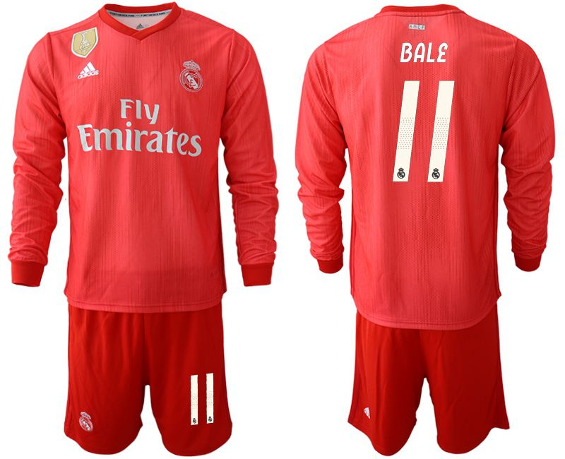 Men 2018-2019 club Real Madrid Second away Long sleeve 11 red Soccer Jerseys