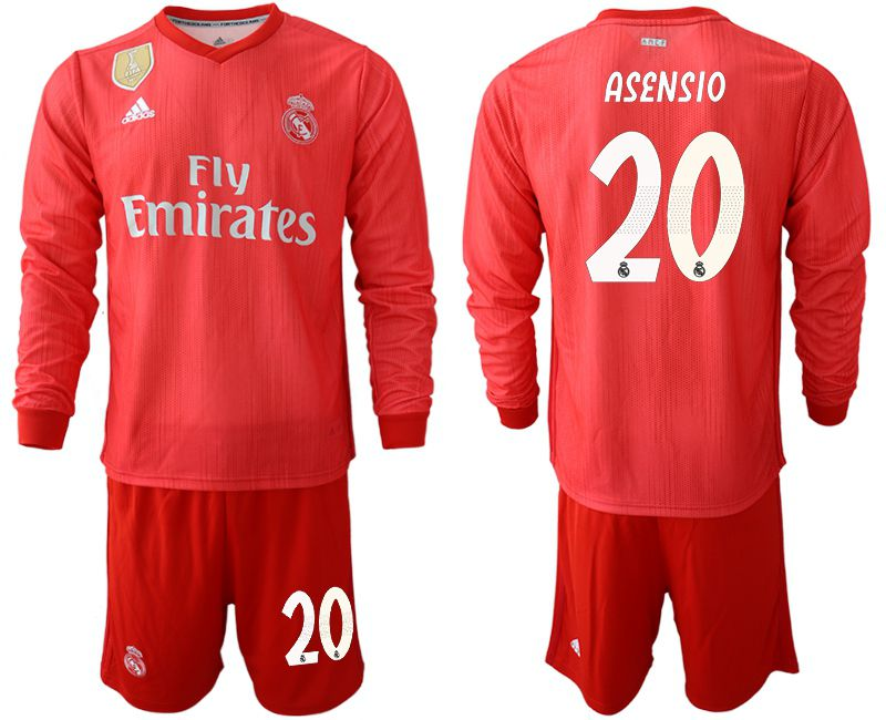 Men 2018-2019 club Real Madrid Second away Long sleeve 20 red Soccer Jerseys
