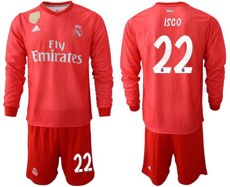 Men 2018-2019 club Real Madrid Second away Long sleeve 22 red Soccer Jerseys