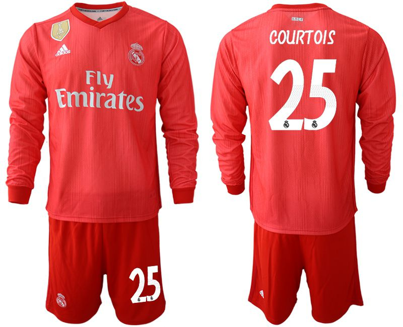 Men 2018-2019 club Real Madrid Second away Long sleeve 25 red Soccer Jerseys