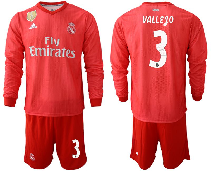 Men 2018-2019 club Real Madrid Second away Long sleeve 3 red Soccer Jerseys