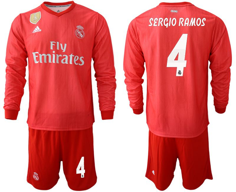 Men 2018-2019 club Real Madrid Second away Long sleeve 4 red Soccer Jerseys
